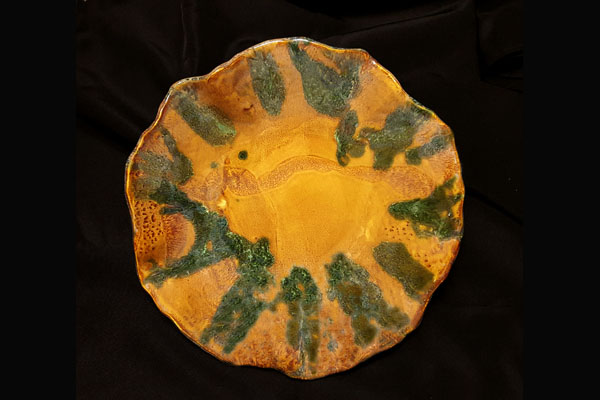 Benande Green and Gold Plate, Sea Grape Gallery