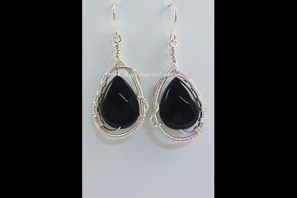 VanTassell Black Onyx and Silver Earrings, Sea Grape Gallery