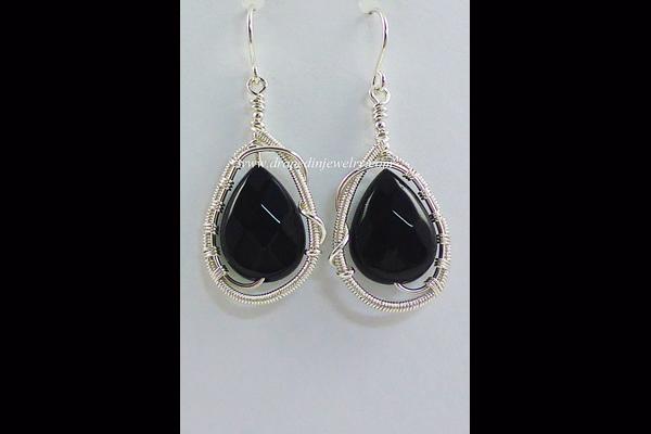VanTassell Black Onyx and Silver Earrings, Sea Grape Gallery