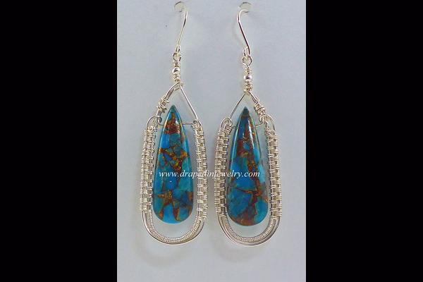 VanTassell Blue Copper Obsidian Earrings, Sea Grape Gallery