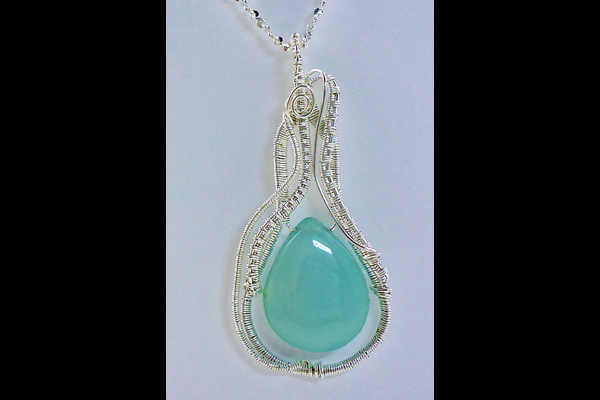 VanTassell Chalcedony and Sterling woven necklace, Sea Grape Gallery