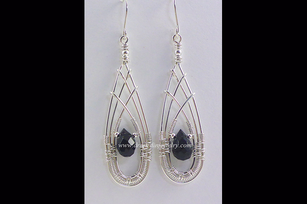 VanTassell silver with black onyx drop earrings, Sea Grape Gallery