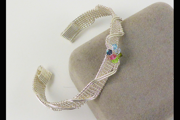 VanTassell wire woven bracelet with beads, Sea Grape Gallery
