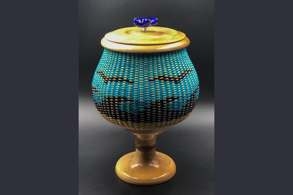 Giffin Day at the Beach pedestal lidded basket with seagull motif Sea Grape Gallery