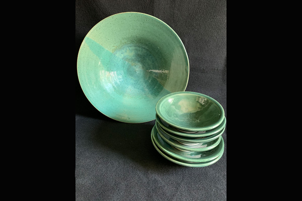 Jones Green Stoneware Bowls, Large & Small, Sea Grape Gallery