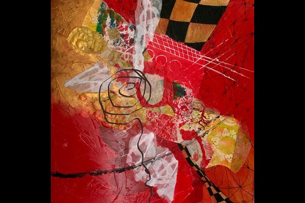 Yankwitt Laying Down Tracks 24 x 24, Mixed Media Abstract, Sea Grape Gallery