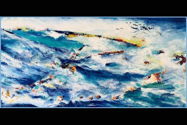 Barb Albin, Surf's Up, Acrylic, 15x30, Sea Grape Gallery