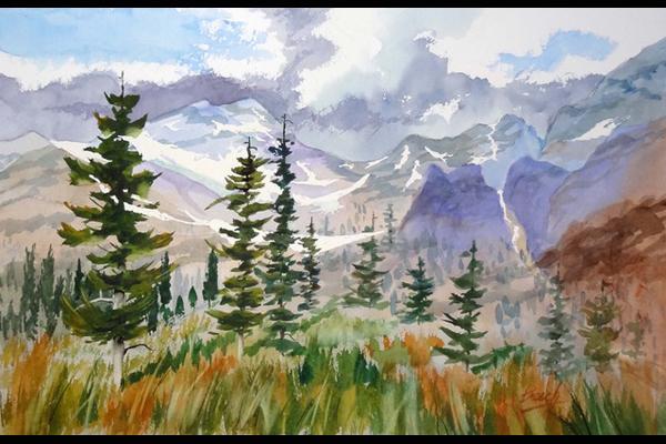 Jim Beech, Rocky Mountain Spring, Watercolor, Sea Grape Gallery