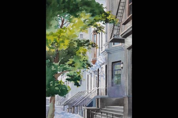 Jim Beech, West 81st Street, Watercolor, Sea Grape Gallery