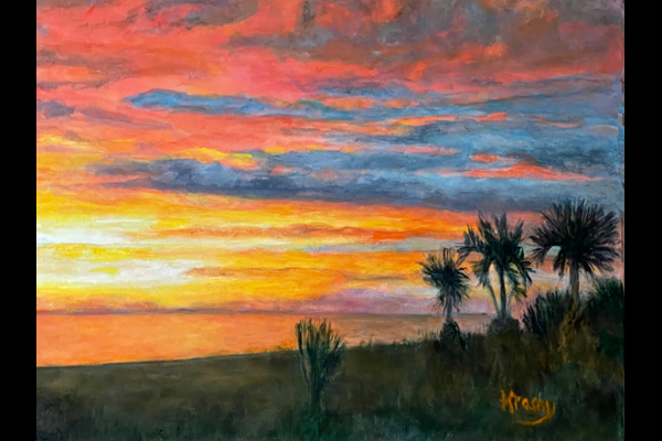 Sue Krasny, Day is Done, 18x20 acrylic, Sea Grape Gallery