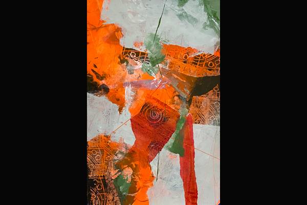 Bev Yankwitt, Tangerine Tango II, 15x22, Acrylic & Collage, Sea Grape Gallery